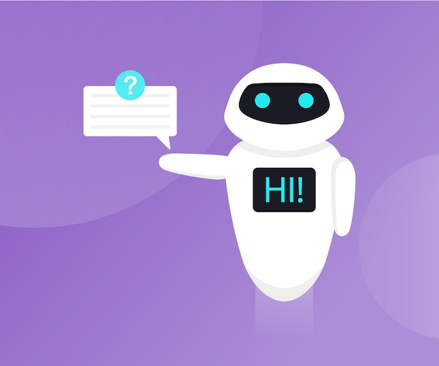 Chat bot isolated on the ultraviolet . bot holds speech bubbles. robot say hi on screen. customer support service chat bot. flat  illustration Premium Vector
