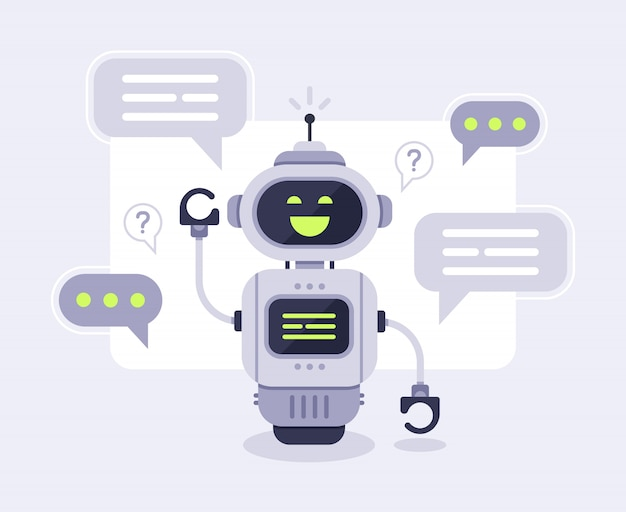 Chat bot messages. smart chatbot assistant conversation, online customer support robot and talking to machine bots  illustration Premium Vector