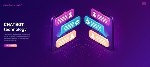 Chat bot or mobile chatting, isometric concept Free Vector