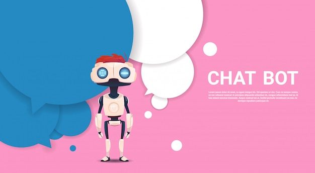 Chat bot robot virtual assistance of website or mobile applications, artificial intelligence concept Premium Vector