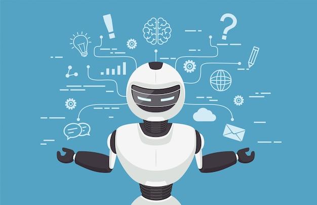 Chat bot, robot virtual assistance. Premium Vector