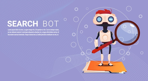 Chat bot search robot virtual assistance of website or mobile applications, artificial intelligence Premium Vector