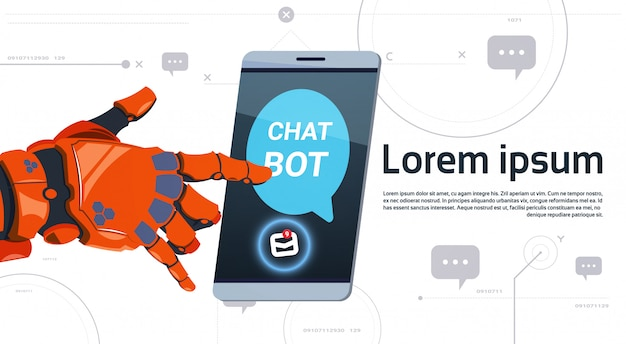 Chat bot service app concept robot hand touch smart phone template banner with copy space, chatterbot technical support technology concept Premium Vector