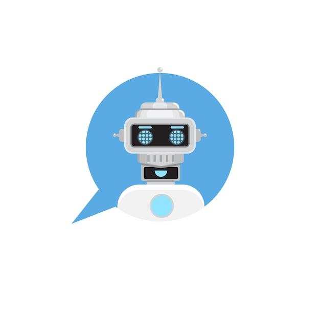 Chat bot in speech bubble. Premium Vector
