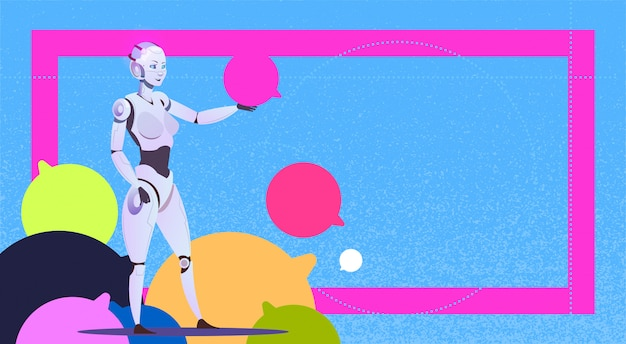 Chat bot using bubbles robot virtual assistance of website or mobile applications artificial intelligence messenger support concept Premium Vector