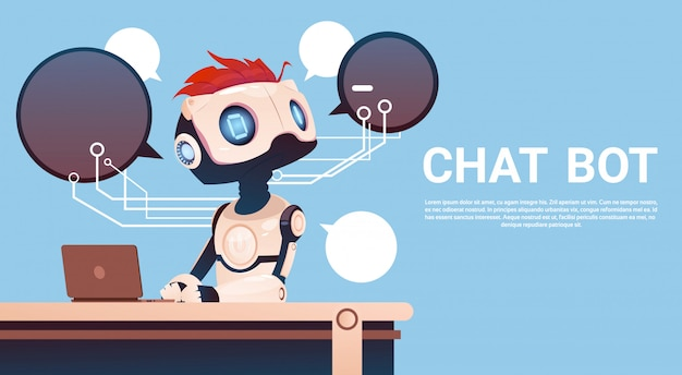 Chat bot using laptop computer, robot virtual assistance of website or mobile applications, artifici Premium Vector