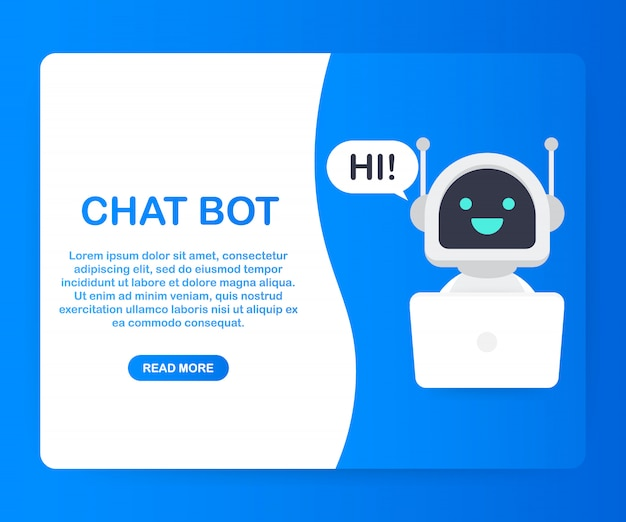 Chat bot using laptop computer, robot virtual assistance of website or mobile applications. voice support service bot. online support bot. . Premium Vector