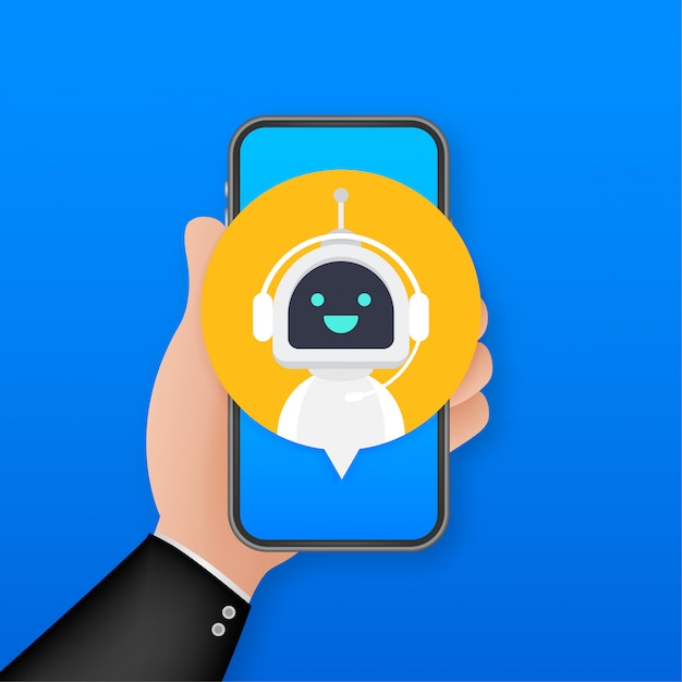 スマートフォン、サイトまたはモバイルアプリケーションのロボット仮想支援でチャットボットを使用します。音声サポートサービスボット。オンラインサポートボット。図。 Premiumベクター