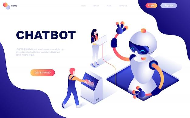 Современный плоский дизайн изометрической концепции chat bot Premium векторы