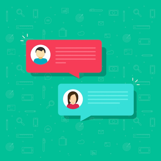 Chat bubble messages vector flat cartoon Premium Vector