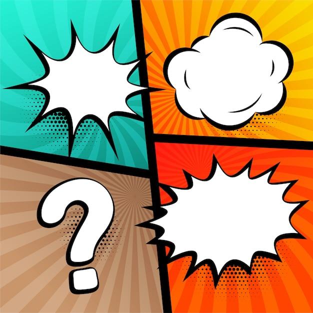 Chat bolle espressioni impostate in stile fumetto Vettore gratuito