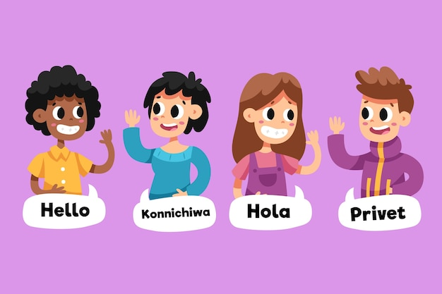 Chat bubbles and people talking in different languages Free Vector