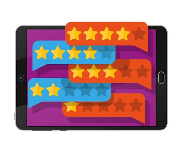 태블릿 Pc 화면에 황금 별과 구름을 채팅. 별 5 개 리뷰 프리미엄 벡터