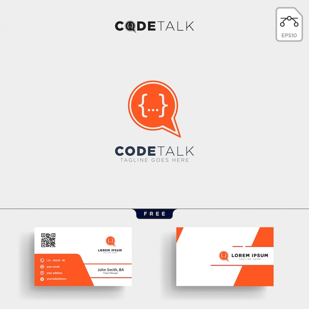 Chat coding programmer logo template and business card Premium Vector