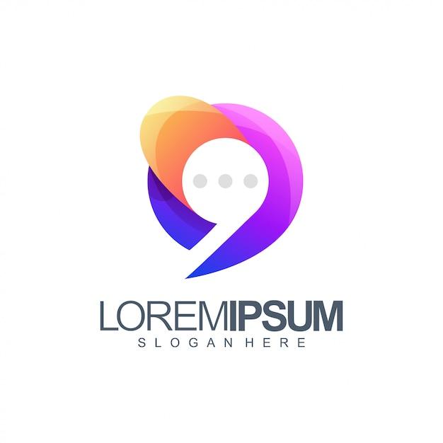 Chat colorful logo Premium Vector