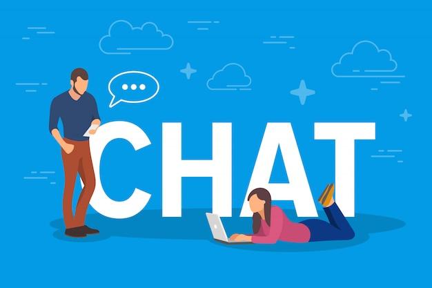 チャットの概念図。タブレットpcやスマートフォンなどのモバイルガジェットを使用して、インターネット経由でお互いにテキストメッセージを送信する若者 Premiumベクター