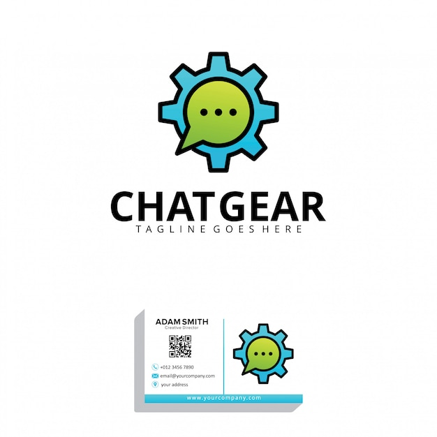 Chat gear logo template Premium Vector