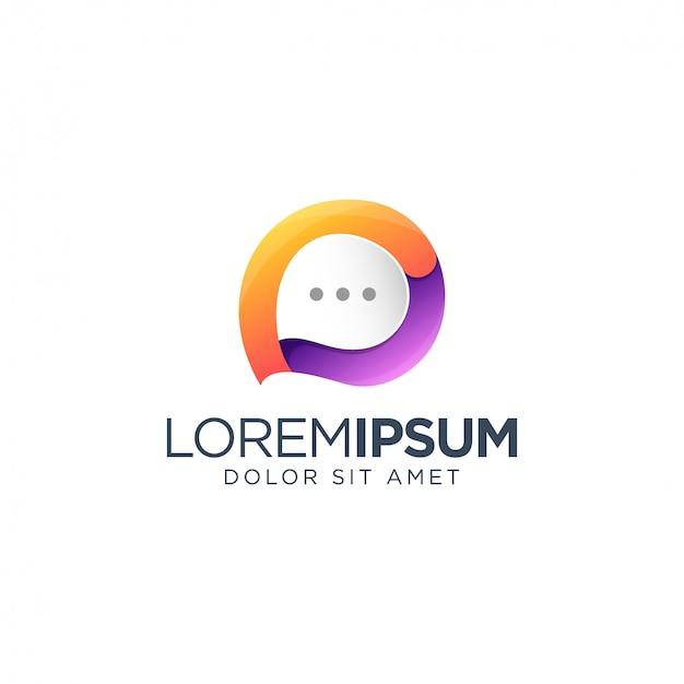 Chat logo design Premium Vector