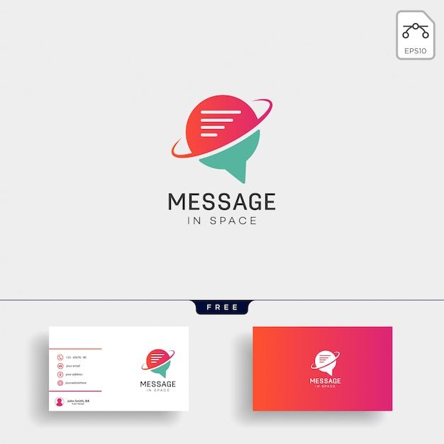 Chat, message, speech, conversation logo template with business card Premium Vector