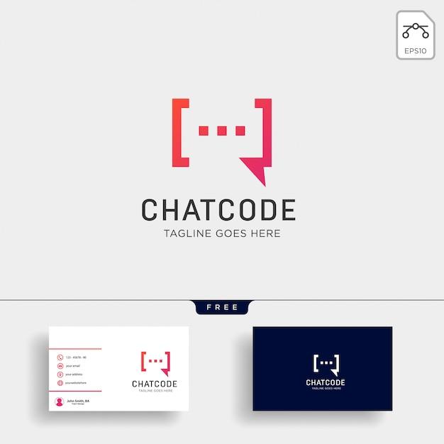 Chat, message, speech, conversation logo template with business card Premium Vector