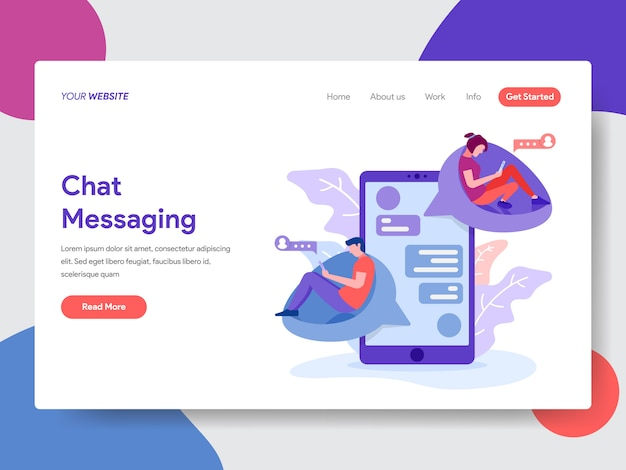 Chat messaging illustration for web page Premium Vector