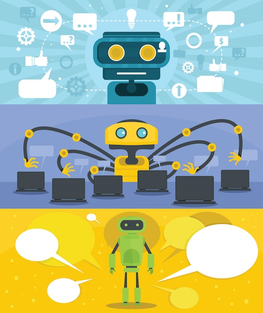 Chat robot background Premium Vector