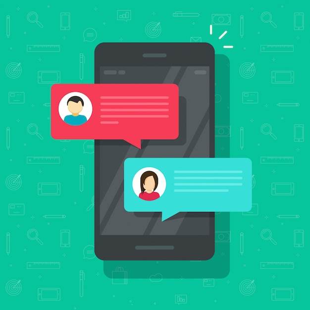 Chat sms messages notification on smartphone or cellphone vector illustration flat cartoon Premium Vector