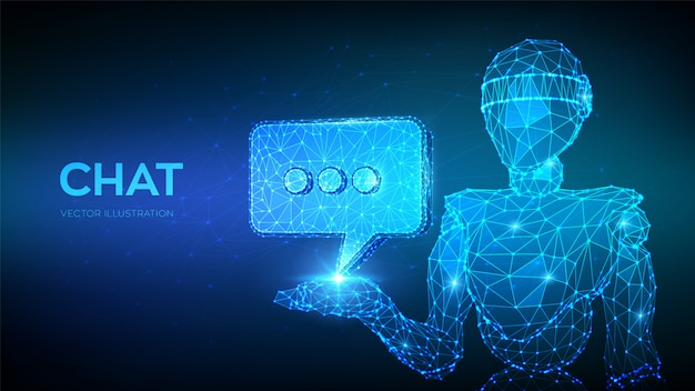 Chatbot. abstract 3d low polygonal robot holding chat icon. Premium Vector