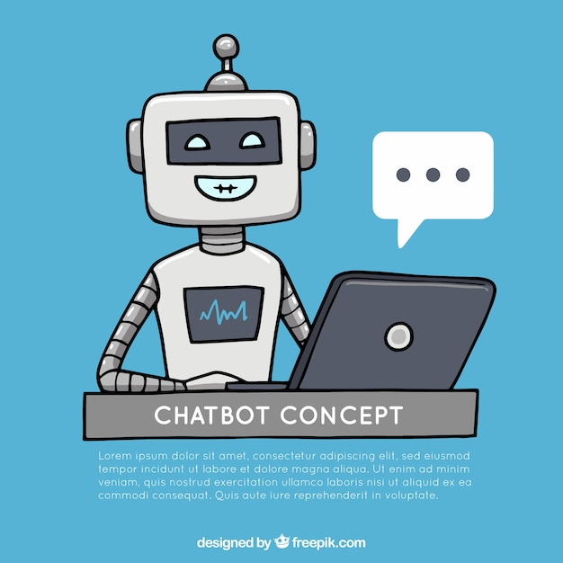 Chatbot concept background with happy robot Free Vector