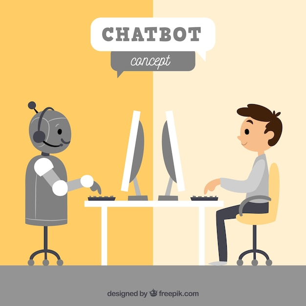 Chatbot concept background with robot and boy Premium Vector