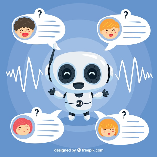 Chatbot concept background with robot Free Vector