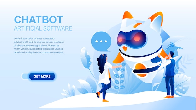 Chatbot flat landing page with header, banner  template. Premium Vector