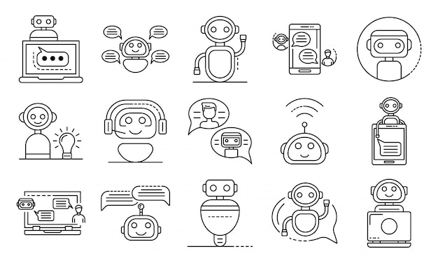 Chatbot icons set, outline style Premium Vector
