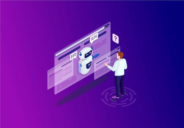 Chatbot isometric color illustration Premium Vector
