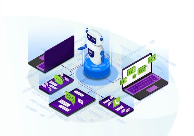 Chatbot isometric vector illustration Premium Vector