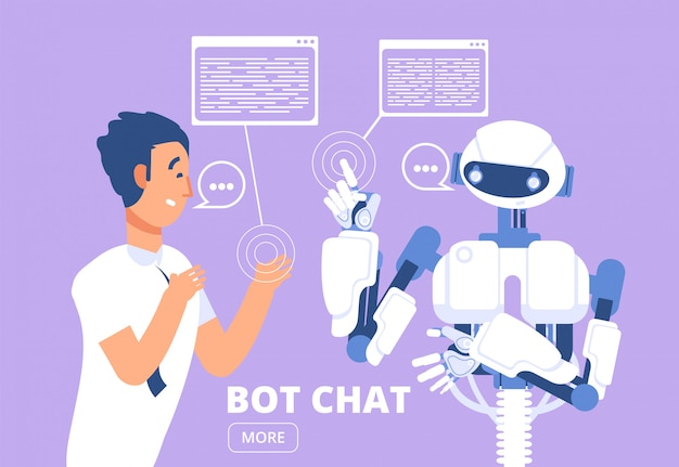 Chatbot . man chatting with chat bot. customer support service  illustration Premium Vector