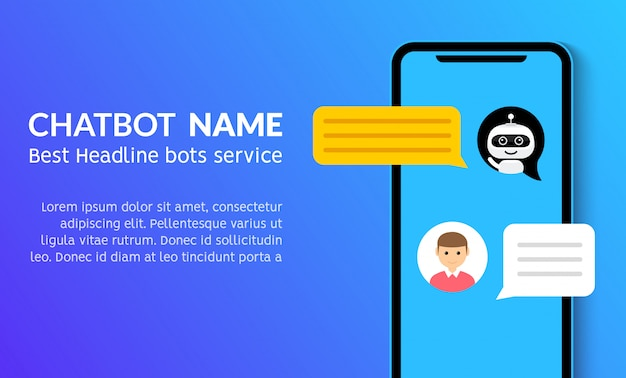 Chatbot phone call flat customer vector service marketing banner. chat bot support smartphone app Premium Vector