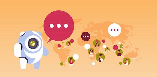 Chatbot robot speech bubble indian people avatar global communication banner Premium Vector