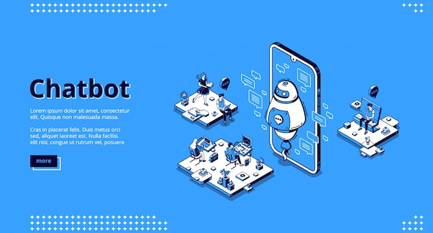 Chatbot robot support people in office Free Vector
