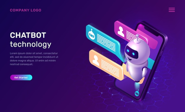 Chatbot technology website template Free Vector