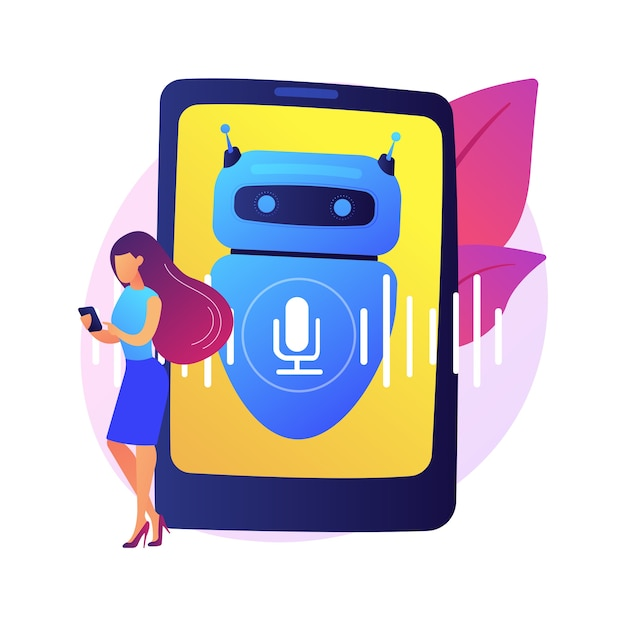 Chatbot voice controlled virtual assistant abstract concept  illustration. talking virtual personal assistant, smartphone voice application, ai, voice controlled chatbot . Free Vector