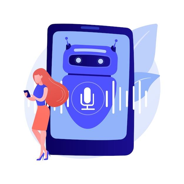 Chatbot 음성 제어 가상 비서 추상 개념 벡터 일러스트 레이 션. 말하는 가상 개인 비서, 스마트 폰 음성 응용 프로그램, ai, 음성 제어 챗봇 추상 은유. 무료 벡터