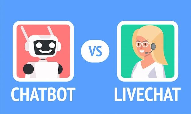Chatbot vs livechat . Premium Vector