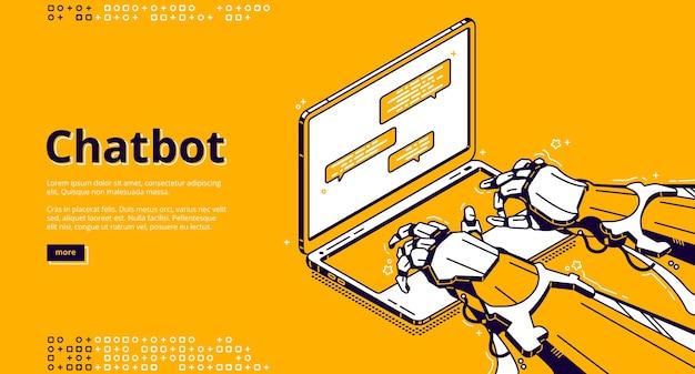 Chatbot con intelligenza artificiale che digita un messaggio nella chat di supporto. assistente virtuale con ai, servizio digitale per la comunicazione online. pagina di destinazione con mani robot isometriche e laptop Vettore gratuito
