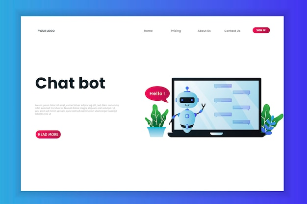 Шаблон веб-сайта с технологией chatbot Premium векторы