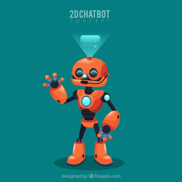 ロボットとのchatbotコンセプト背景 無料ベクター
