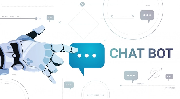 Chatter service app concept robot hand touch chat bubble template banner with copy space, chatterbot technical support technology concept Premium Vector