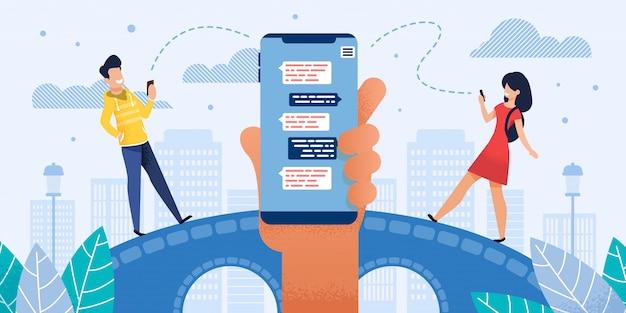 Chatting in mobile messenger flat Premium Vector