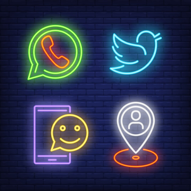 Chatting neon sign set. telephone, speech bubble Free Vector