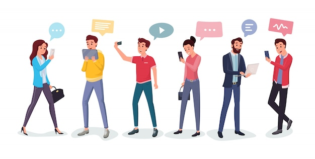 Chatting people using different gadgets Premium Vector